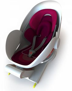 Futuristic infant car seat by Carkoon, with a protective bubble that immediately covers the baby during impact.