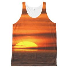 Beautiful Tropical Beach Orange Yellow Sunset All-Over Print Tank Top Tank Tops