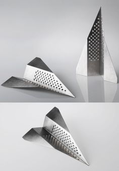 cheese grater by Liviana Osti #plain-  Folded paper airplanes - metal foil, like copper cranes and flowers