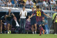 Adriano celebra el gol al Málaga. | Málaga 0-1 FC Barcelona. [25.08.13]