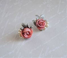 Polymer clay jewelry, pink roses, flower jewelry. small stud earrings.Bridesmaid gift by angel4eva on Etsy