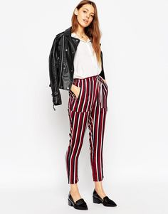 Image 1 of ASOS Tapered Pants in Woven Stripe