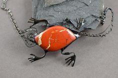 Red jasper necklace lizard natural noreena jasper by OrioleStudio