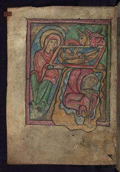 Narození ~ Nativity; Žaltář z kostela ve Strasbourgu, 2. polovina 13. století, Horní Porýní
