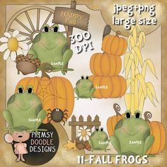 11-Fall Frogs   $1.00  Cute new collection of Fall Frogs. Created at 300 dpi in jpeg and transparent png formats. Large size.