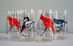 Vintage Anchor Hocking Etched Bird Glass Set