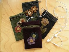 wool ipod cases  love----also penny rug tutorials here