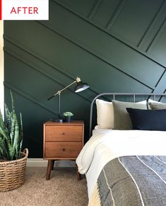 Get inspired by Modern Bedroom Design photo by Wayfair lets you find the designer products in the photo and get ideas from thousands of other Modern Bedroom Design photos. Forest Green Bedrooms, Green Bedroom Walls, Green Accent Walls, Accent Wall Bedroom, Green Rooms, Bedroom Carpet, Olive Bedroom, Green Bedroom Design, Green Master Bedroom