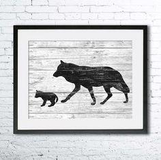 Wolf art illustration, Wolf painting, Nautical, Wall art, Rustic Wood art, Animal print, Home Decor, Animal silhouette, Kitchen decor  Printed