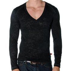 Long Sleeve SKINNY Core Tee by Andrew Christian in Black