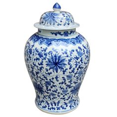 Decor - Twisted Lotus Chinoiserie Temple Jar - Blue & White
