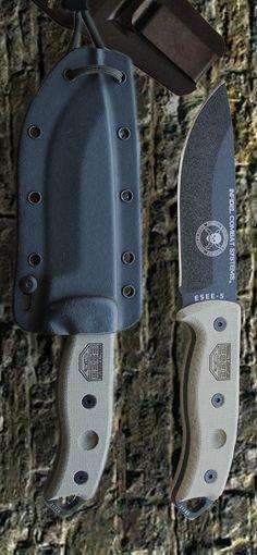 ESEE Knives ESEE-5P Black Plain Edge Fixed Knife Blade, Black Sheath, Clip Plate