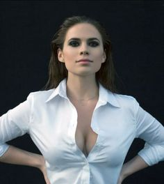 Hayley Atwell cleavage in a white unbuttoned top