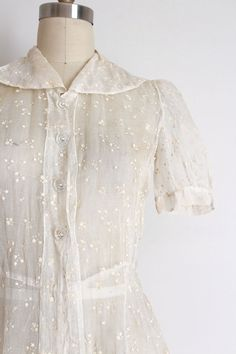 vintage 1930s dress // 30s sheer dress top by TrunkofDresses