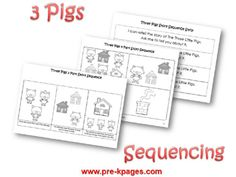 Three Little Pigs story sequence activity