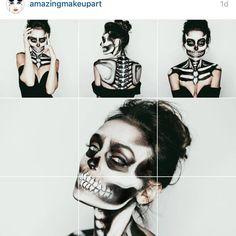 "Jill Marie M U A on Instagram: ""And this repost from @amazingmakeupart! Thank you, thank you, thank you!!! #makeupbyjillmarie #jillmariemua #utahmakeupartist #costumemakeup #skeletonmakeup #halloweenmakeup #repost #dreamscomingtrue"""