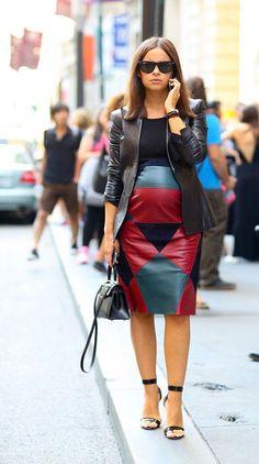 Miroslava Duma.. Gucci's black leather jacket, Derek Lam skirt, black strap sandals and Hermes mini Kelly handbag..
