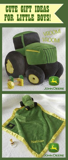 OMG This is so cute I can't take it!!!! It's a John Deere® Plush Tractor and embroidered baby blanket for little boys! I HAVE to get this! This site has the cutest baby gift ideas - pin now and save later for baby shower gifts!