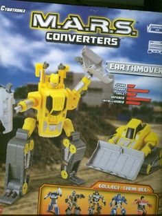 """M.A.R.S. Converters Yellow Spot Explorer Cybrotonix Earthmover by Happy Kid Toy Group LTD.. $9.00. Yellow M.A.R.S. Converter. 12"""" x 10"""" 4"""" Spot Explorer. Robot Cybotronix 12"""" Tansfroms into an Earthmover. Robot Turns into a Earthmover and back. Collect all 5. Great item and tons of fun for kids over 5. You can use your Spot Explorer a robot or a earthmover.. Save 69%!"""