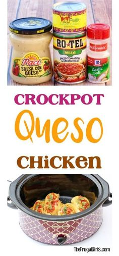 Easy Crock Pot Queso Chicken Recipe! Just 5 ingredients, and you\'ve got an off-the-charts delicious Slow Cooker dinner!   TheFrugalGirls.com