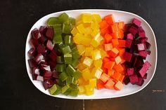 POSTUP: Ovocnú/zeleninovú šťavu naliať do panvice, pridať želatínu, premiešať a nechať napučať. Obsah panvice zahriať na miernom plameni, ale nevariť, aby sme dostali hladkú hmotu. V mede si rozšľaháme extrakt a ostatné prísady - vitamíny, ktoré sme si vybrali (u probiotík, počkať, kým hmota vychladne). Med s ostatnými surovinami primiešame do hladkej hmoty a takto pripravenú masu nalejeme do formy. Dáme do chladničky na 2-3 hodiny. Stuhnuté vyberieme, nakrájame na kocky a podávame. Dobrú…