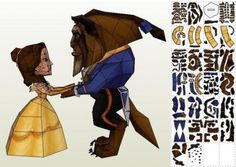 Beauty And The Beast Paper Toys In Chibi Style - by Paper Mike - == -  These little paper toys in Chibi style of Beauty And The Beast were created by French designer Mike, from Paper Mike website. To view and print these models you will need Pepakura Viewer Free Version (link at the end of this post).