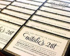 21st Birthday Invitation - black, gold glitter and white from www.essentric.com.au