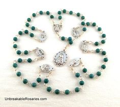 Rosary of The Seven Sorrows of Mary in Turquoise Magnesite Come Visit UnbreakableRosaries.com