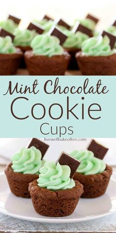 Mint chocolate cookie cups taste as good as they look! Homemade cookie cups are filled with mint, buttercream frosting. Guests, friends and family will love these adorable cookie cups that are packed with mint and chocolate flavors! Yum! #cookiecups #mint #buttercream #food #recipes #cookies