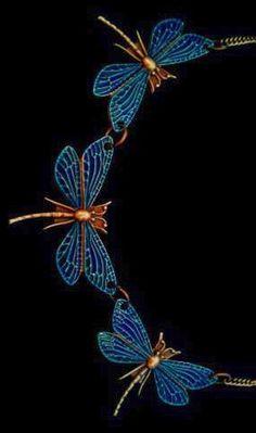 Art Nouveau Period Enamelled Blue Dragonfly Necklace