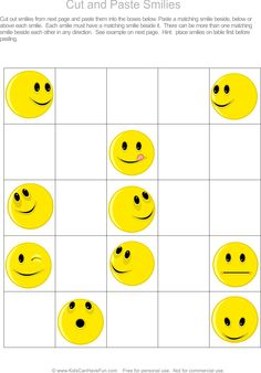 Cut and paste smilies into the correct box.