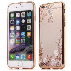 Flower Pattern TPU Material Protective Back Case For IPhone 6 6S Diamond Encrusted Transparent