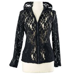 Lace Zip Front Hoodie  Exclusive! Night Train. Midnight-black lace keeps luxury real as a zip-front, long-sleeve, hooded top for first-class, casual elegance. Polyester/cotton. Machine washable. Made in USA. Color: Black.