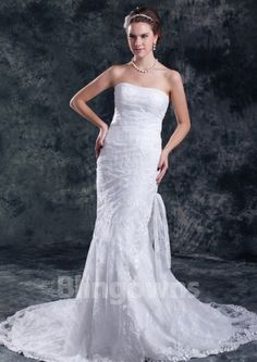 Sweep Tulle Lace Up Mermaid Strapless Appliqus White Sleeveless Wedding Dresses