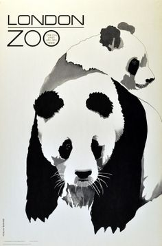 London Zoo, 1968 - original vintage poster by Roslav Szaybo featuring the zoo's celebrity giant pandas, Chi Chi and An An, listed on AntikBar.co.uk
