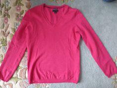 Tommy Hilfiger Pink Sweater V Neck Long Sleeve Thin M Spring Pima Cotton Blend #TommyHilfiger #VNeck