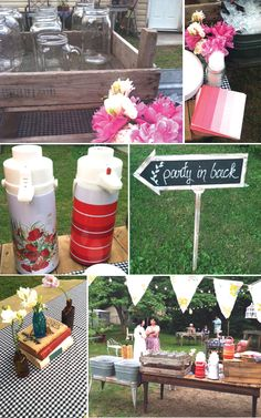 Vintage backyard BBQ bash with schoolhouse vibe styled by Stockroom Vintage. #vintage #picnic #schoolhouse #bbq