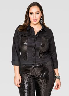 adce68e1edf Sequin Front Jean Jacket. Fashionable Plus Size ...