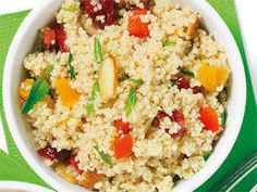 Confetti Couscous - Serve this colourful side dish with grilled chicken for a complete 400 calorie meal. Feel free to use different combinations of dried fruit, including jumbo raisins, dried cherries, and dried plums.