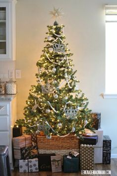 Holiday Home Tour 2014...fabulous basket for tree skirt.  Lemonade Makin Mama.  Love the gift wrap too.