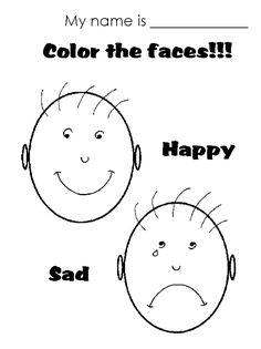 happy sad face coloring page - Google Search