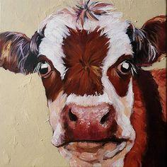 Original Acrylic Painting Cow Animal Art Wall decor