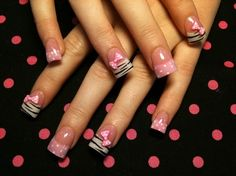 Adorable - Zebra & Polka Dot Tips with Pink Bows