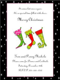 Christmas invitations, Christmas party invitations and Sock on