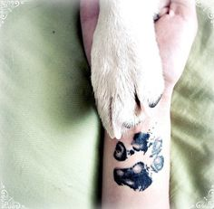 Take ink and have your dog make a paw print on a piece of paper. Then take that paper to the tattoo artist and get your dog's actual paw print tattooed onto your skin.