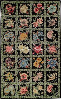 "Hooked Rugs | Hooked Rug, Historic Design, ""Tiled Flowers on Black"""