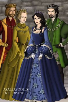 Godric Gryffindor, Helga Hufflepuff, Rowena Ravenclaw, and Salazar Slytherin by Lilaireathiel ~ Folk and Historical Dress Up