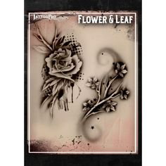 Airbrush Tattoo Pro Stencil Flower and Leaf