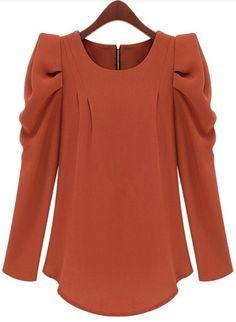 Orange Long Sleeve Alice Shoulder Zipper Blouse