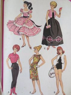 Barbie Doll Vintage Patterns Mix